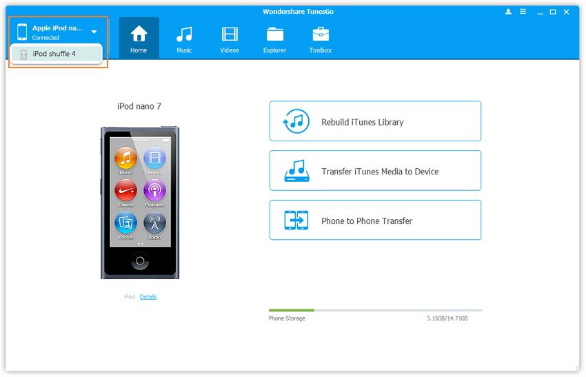 Transferir músicas do iPod para o iPod com o Wondershare TunesGo