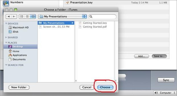 itunes file sharing- folder