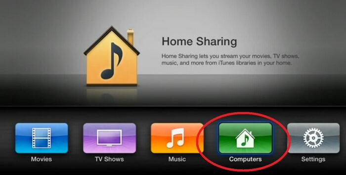 home sharing tv-On Apple TV choose Computers
