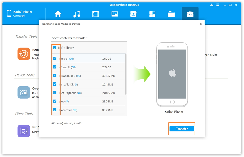 TunesGo- step 4: select Playlist and click Transfer to get started