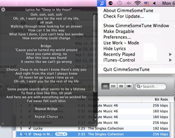 itunes lyric plugin - Display Lyrics