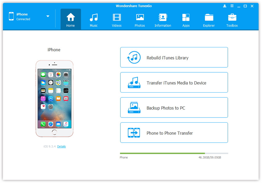 Use Wondershare TunesGo to Transfer iPhone Camera Roll to PC/Mac