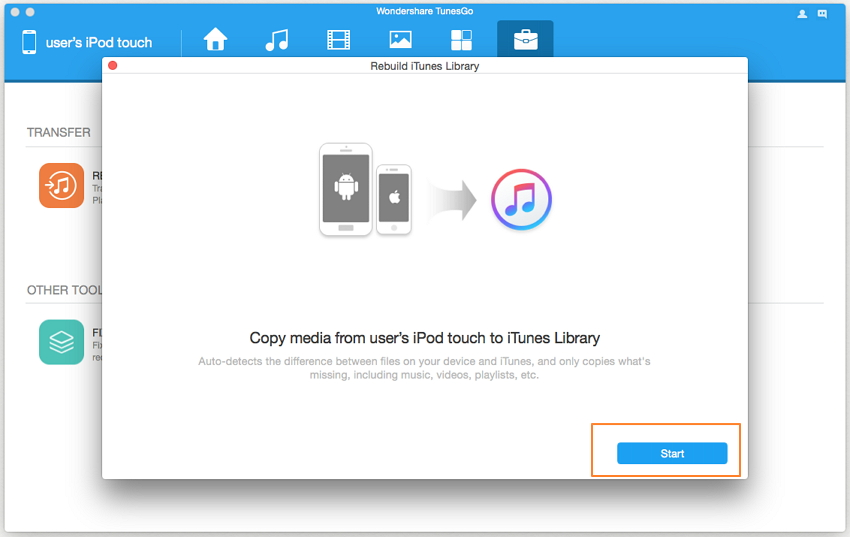 transfer music from ipod touch to iTunes-Start to copy