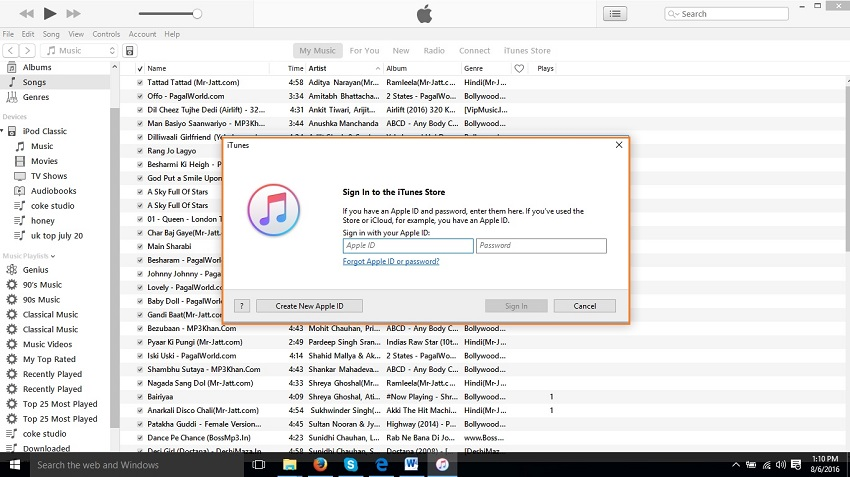 Extract music from iPod to your computer/ itunes library-Enter your apple id