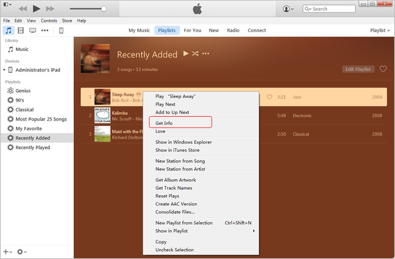 Transfer MP3 to iPad with iTunes: Get Info