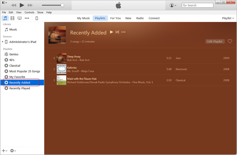 Transfer MP3 to iPad with iTunes: Recently Added