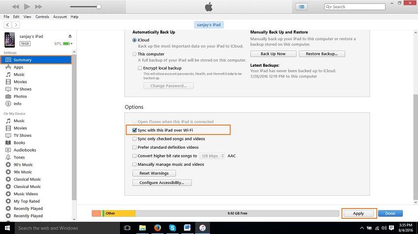 Come sincronizzare ipad con iTunes-sincronizzazione con questo iPad tramite wifi
