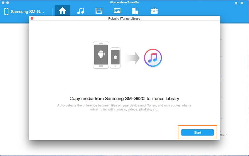 how to transfer music from android to itunes-click start
