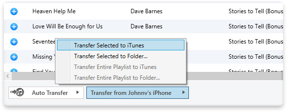 How to transfer files form ipod to itunes-Transfer Selected to iTunes