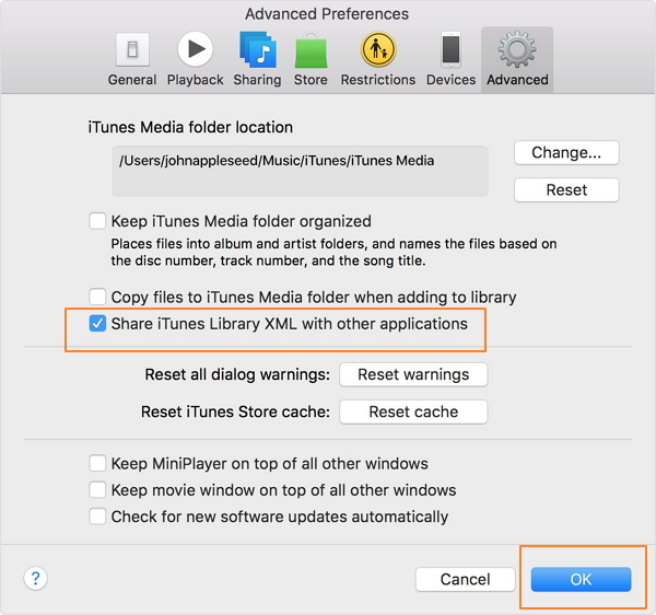 Transfer iTunes music from PC to Mac-advanced setting
