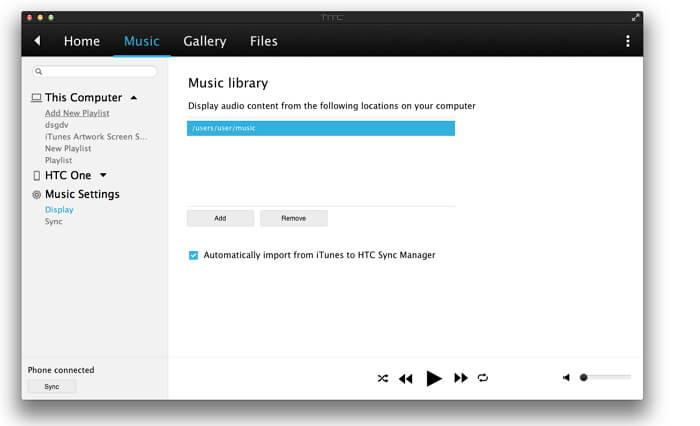 trasferire musica da itunes a htc one-Display
