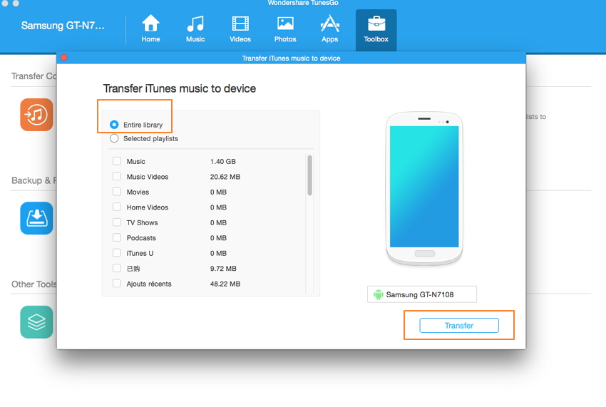 sync iTunes to android-transfer