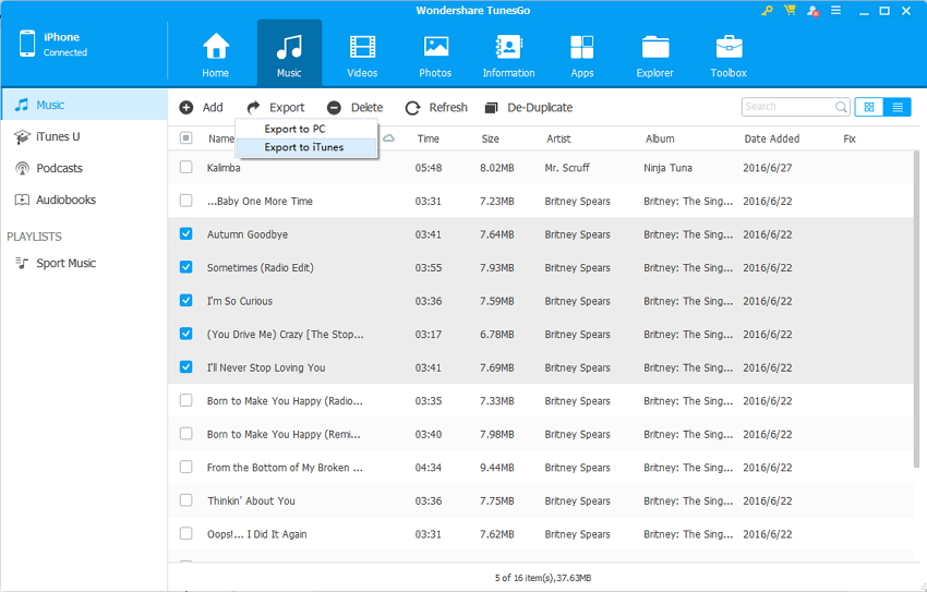 export music to itunes