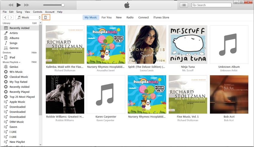 Escolha a biblioteca de música iPad