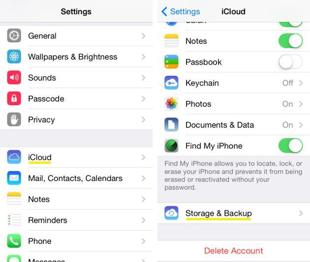 Transfira música do iPhone para o iCloud - ative o switch para o iCloud Backup