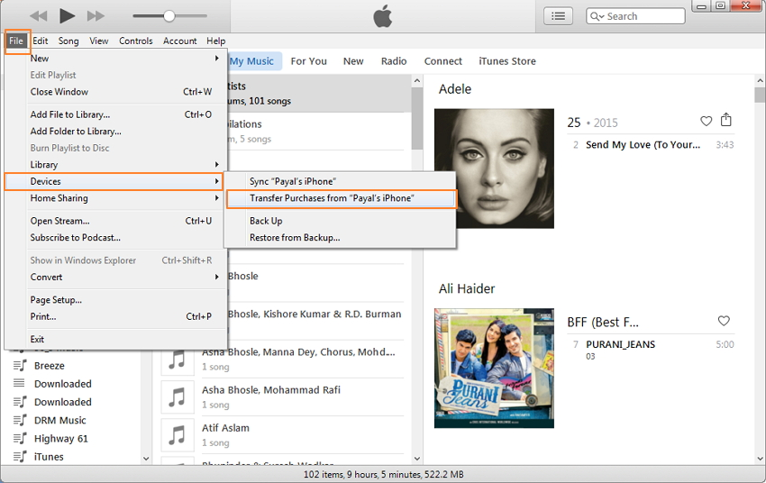 sincronizzare musica da iphone a iphone con iTunes