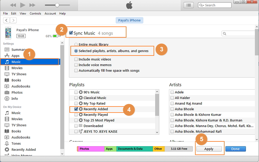 Transfer Music to iPhone from PC with iTunes