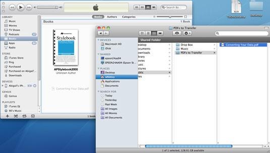 Transfiere archivos PDF desde la PC al iPad con iTunes- paso 5: arrastra y suelta el PDF en la Biblioteca de Libros de iTunes