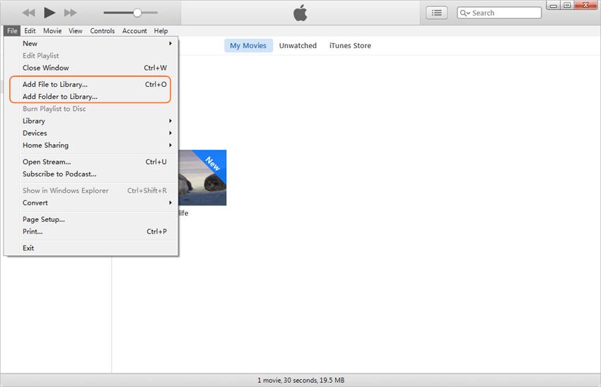 Copiar el vídeo del ordenador al iPad - Agrega Películas a iTunes