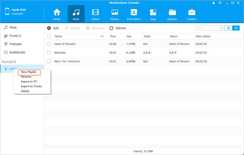 Transfiere Archivo al iPad desde el Computador Personal – Transfiere Lista de Reproducción