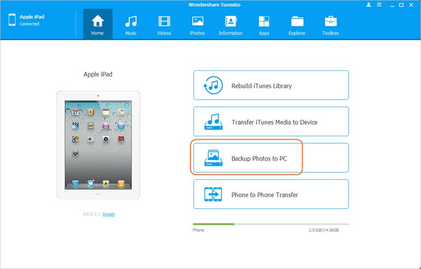 Respaldar los archivos del iPad al disco duro externo - tuensgo paso 2