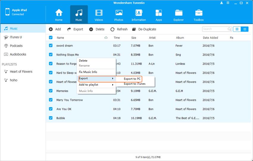 Sincronizando el iPad con nueva ordenador usando TunesGo - Seleccionar Archivo  para Transferir