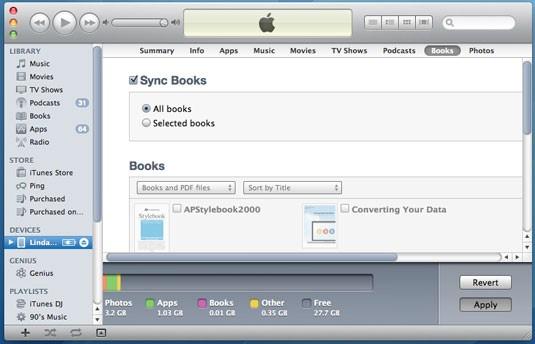 Transfiere archivos PDF desde la PC al iPad con iTunes - haz clic en el botón Aplicar para sincronizar