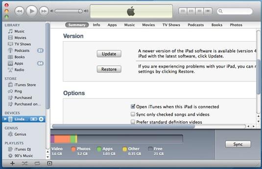 Transfiere archivos PDF desde la PC al iPad con iTunes - conecta el iPad con la PC, y selecciona el iPad en iTunes, haz clic en la pestaña Resumen