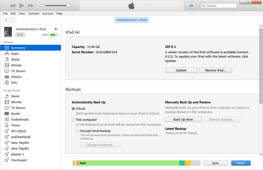 transfer Books from iPad to Computer with iTunes - Connect ipad