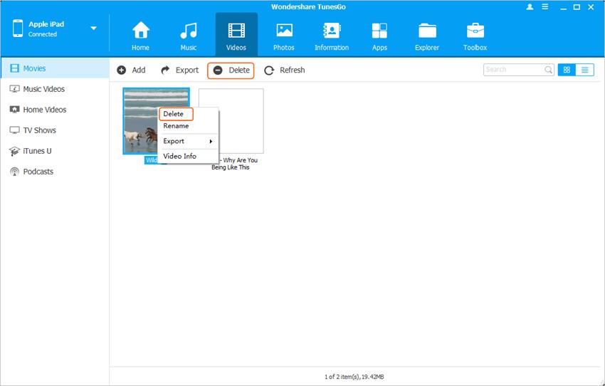 Elimina Videos desde el iPad