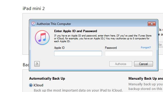Sincronizando el iPad con nueva ordenador usando iTunes - paso 4:Provee un  ID Apple y contraseña