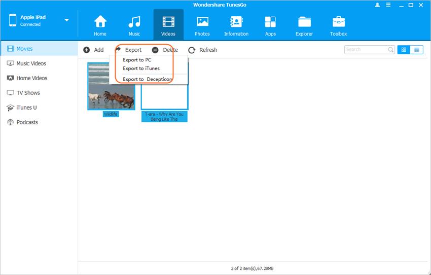 Transferir vídeo de iPad a iPad - Transfiere los vídeos
