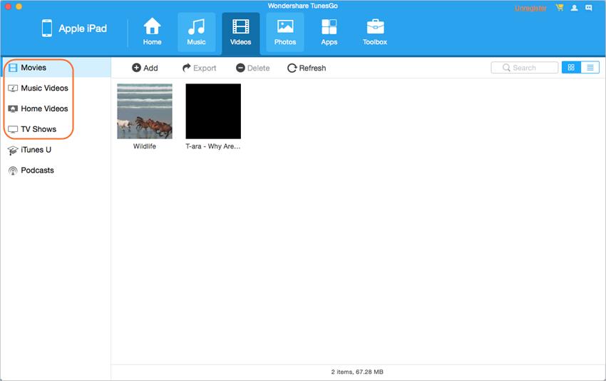 Transferir videos desde el iPad a la Mac con TunesGo - Encuentra los Vídeos deseados