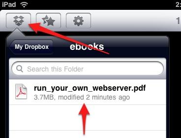 Transferir Archivos PDF desde la PC al iPad con Dropbox  - haz clic en el botón Dropbox en eBooks