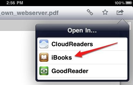 Transferir Archivos PDF desde la PC al iPad con Dropbox  - selecciona iBooks desde la lista desplegable
