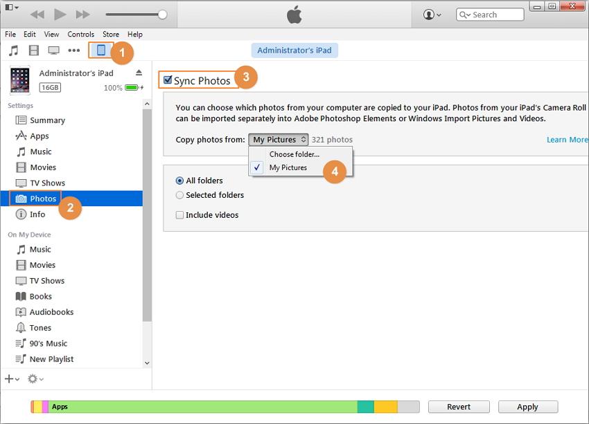 Usa iTunes para Transferir Fotos desde el Ordenador al iPad