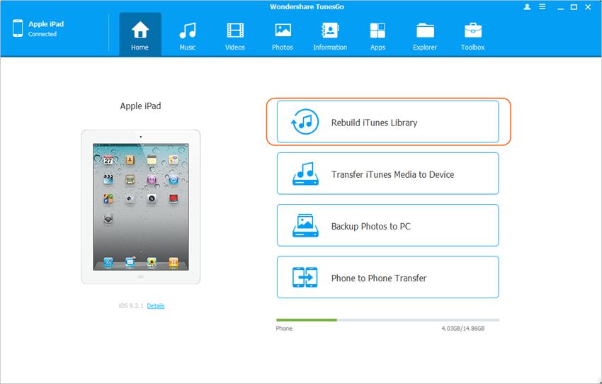 Sincronizando el iPad con nueva ordenador - Reconstruye tu Biblioteca de iTunes con un solo Click