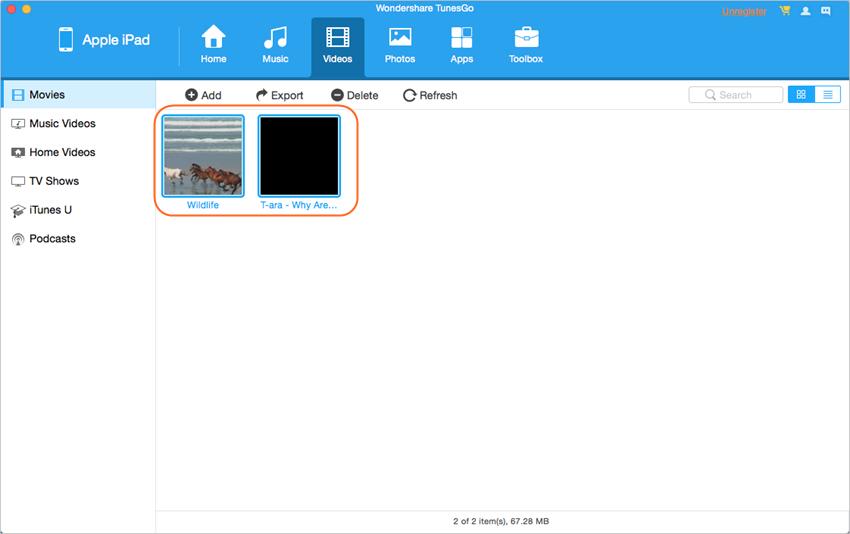 Transferir videos desde el iPad a la Mac con TunesGo - Haz clic en el botón Exportar