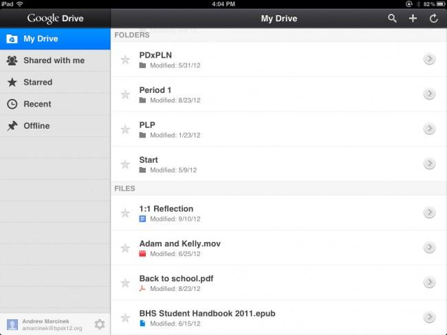 Transfiere videos desde el iPad a la PC usando Google Drive - Inicia Google Drive