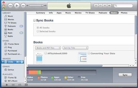 Transfiere archivos PDF desde la PC al iPad con iTunes - haz clic en Libros y Sincronizar