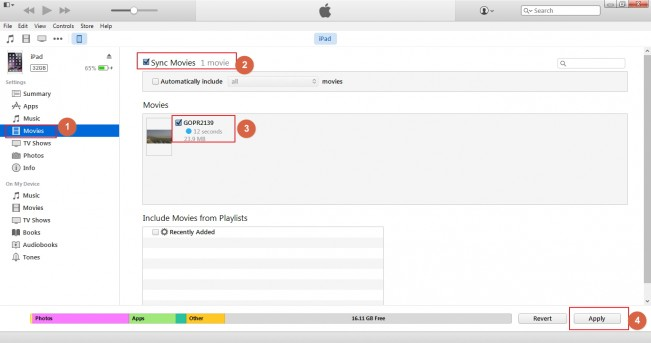 Transfiere MP4 al iPad con iTunes
