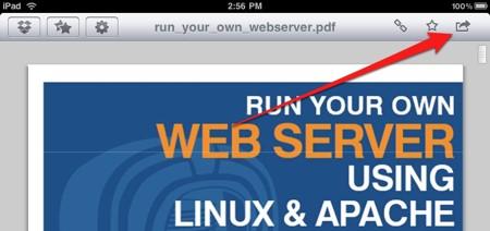 Transferir Archivos PDF desde la PC al iPad con Dropbox - toca el botón Abrir