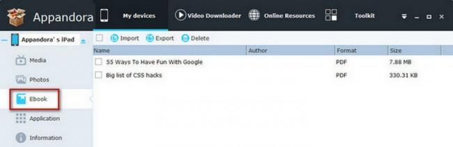 Transferir PDF desde el iPad a la PC usando Appandora - Selecciona los archivos PDF