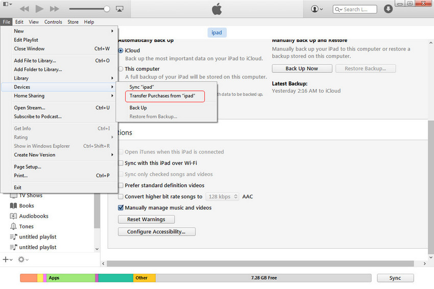 Sincronizar el iPad con Mac - Transferir Compras