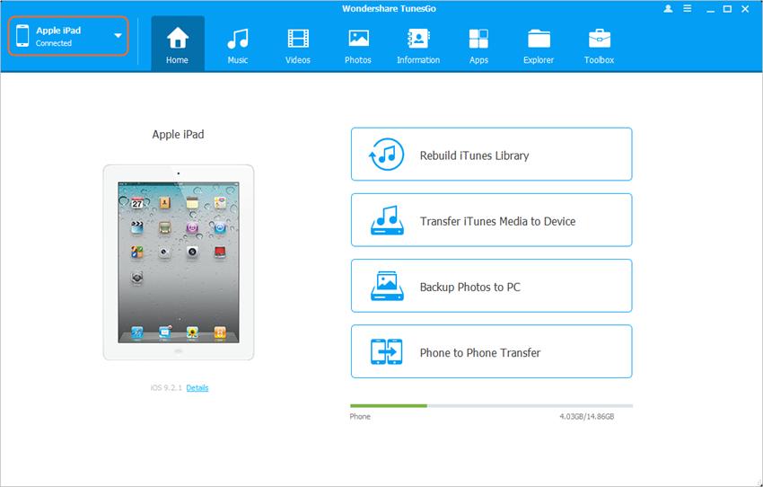 transfer music from ipad to ipad - Start TunesGo
