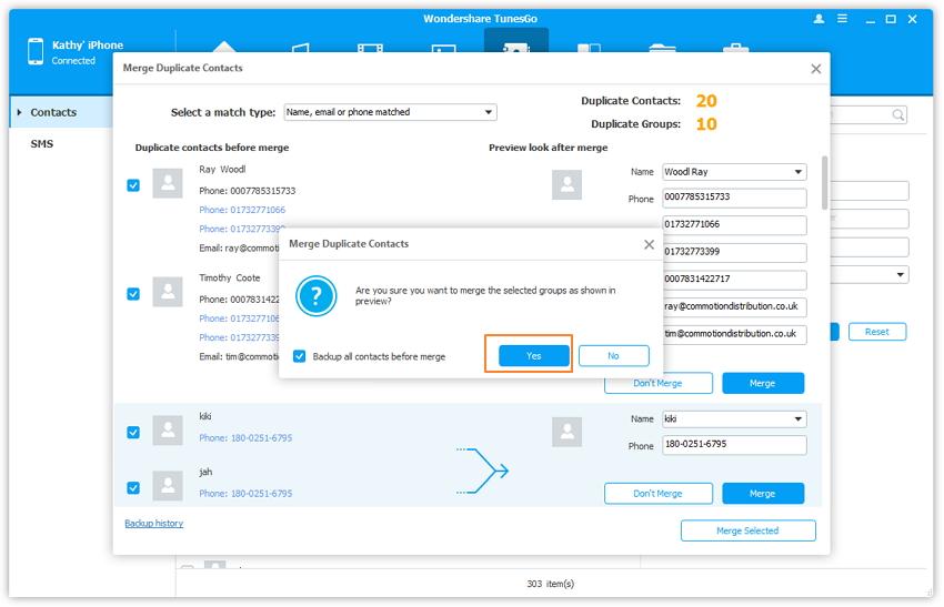 Cómo combinar los contactos duplicados en el iPhone con TunesGo