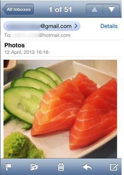 Transferir fotos del iPhone a la unidad flash - usando correo electrónico paso 3
