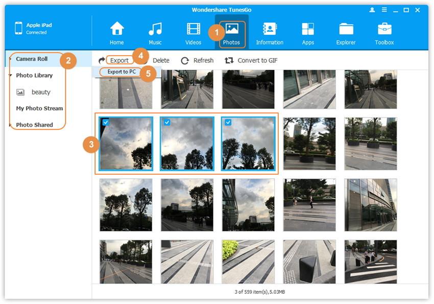 Pasos para la transferencia de fotos del iPad a la PC usando TunesGo