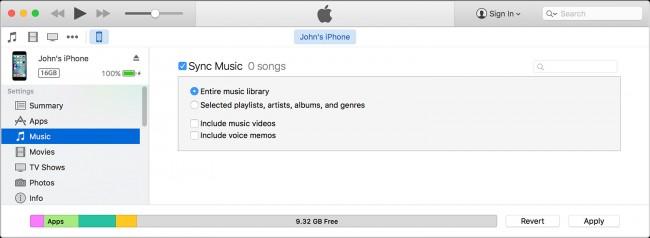 Transferir música desde el iPad al iPhone usando iTunes - paso 4: Seleccionar el contenido que deseas sincronizar