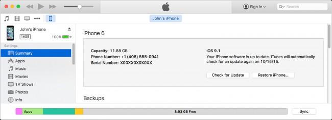 Transferir música desde el iPad al iPhone usando iTunes - paso 3: encontrar el botón de sincronización